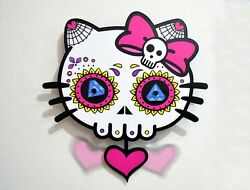 Big Sugar Skull Dead Kitty - Day of the Dead -Dia de Los Muertos - Calavera - Pe