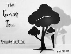 The Giving Tree - Hanging man - Silhouette Pendulum Table Clock