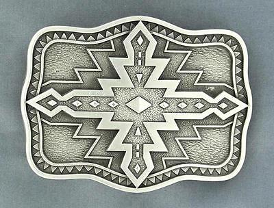 Nocona Western Belt Buckle Scalloped Aztec Silver Black 37926