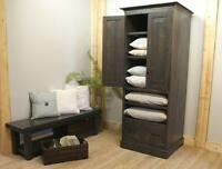 Reclaimed Wood Armoire $2995, Bench $725. By LIKEN Woodworks