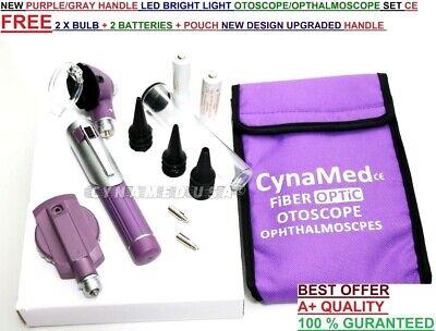 Fiber Optic Otoscope Ophthalmoscope Examination Led Diagnostic Ent Set Kit-purp