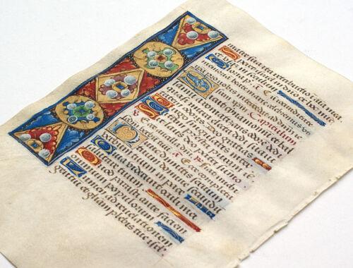 ILLUMINATED MANUSCRIPT BOOK OF HOURS LEAF, UNUSUAL GEMSTONE & FLORAL MOTIF, GOLD