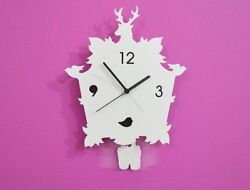White Classic Cuckoo - Pendulum Wall Clock
