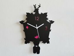 Modern Cuckoo Silhouette Wall Clock with Fuchsia