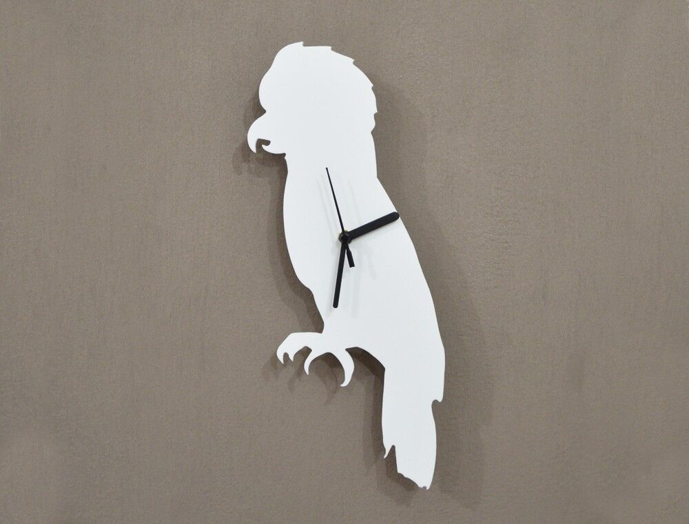 White Parrot Silhouette - Wall Clock