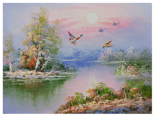 Original 12x16 Ducks at the Pond Oil Painting by Tansten. Stretched Canvas!