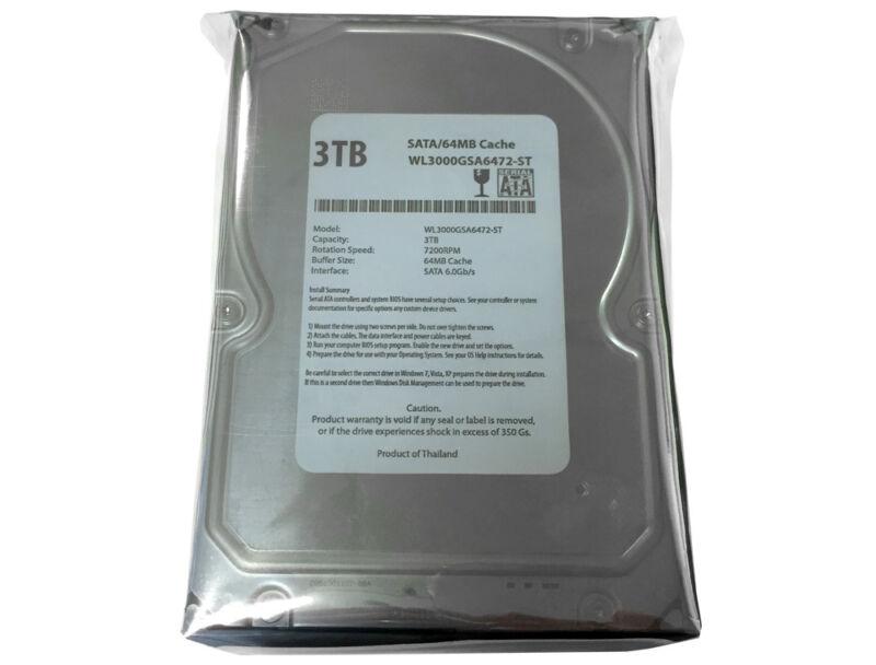 """WL 3TB 7200RPM 64MB Cache SATA 6.0Gb/s 3.5"""" Desktop Hard Drive - PC,Mac,CCTV DVR"""