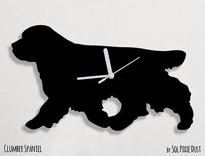 Clumber Spaniel Silhouette Dogs - Clumber Spaniel Dog Silhouette - Wall Clock