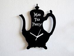 Mad Tea Party Alice in Wonderland Tea Pot Silhouette - Wall Clock