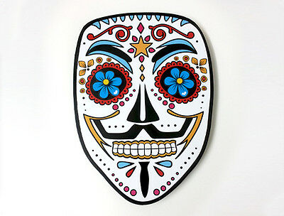 Guy Fawkes Mask Sugar Skull - V for Vendetta - Day of the Dead - Wall Clock  - The Guy Fawkes Mask