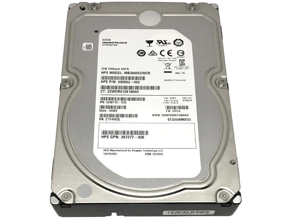 HP / Seagate 2TB ST2000NM0033 7200RPM 128MB Cache SATA 6Gb/s 3.5 Enterprise HDD