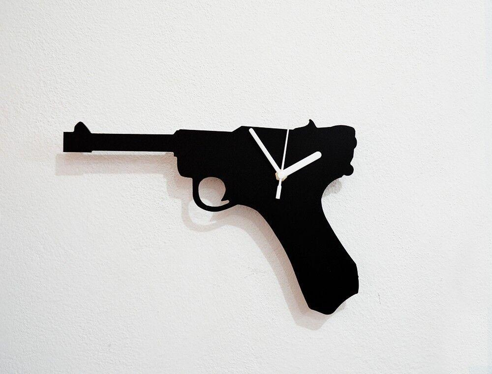 Handgun Weapon Silhouette - Wall Clock