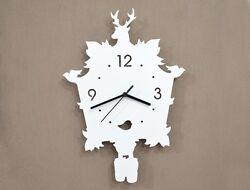 White Modern Cuckoo Silhouette - Wall Clock