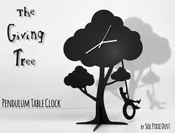 The Giving Tree - Boy Swinging on tire - Silhouette Pendulum Table Clock