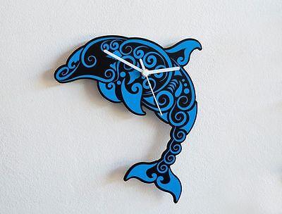 Blue Dolphin - Tribal Wall Clock Blue Dolphins Wall Clock