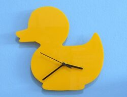 Yellow Rubber Duck Silhouette - Wall Clock