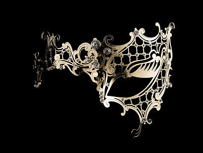 Mask from Venice Wolf Fantasy Venetian Lace Metal Golden and Rhinestones 54 V68
