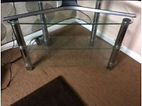 Nice Temprred Glass 3 Shelved TV Table Good Condition Can Deliver For £5