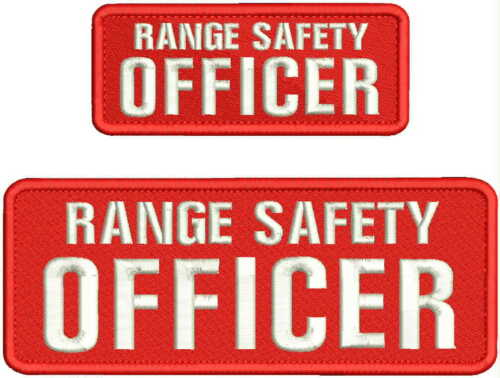 RANGE SAFETY OFFICER embroidery patches 3x8 and 2x5 hook on back RED/white