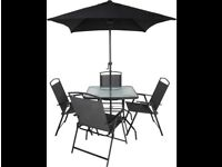Garden table+8 chairs +umbrella