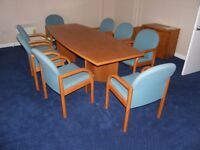 Boardroom meeting table with 8 matching chairs and small sideboard