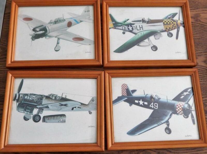 Set of 4 JOHN BATCHELOR WWII  Framed War Airplane Prints