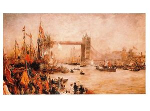 (09880) Postcard - Tower Bridge opening - Wyllie -  London paintings