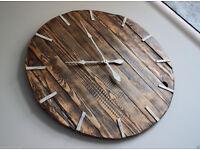 Pallet Wood Wall Clock ''Rue'' Art Industrial Vintage Rustic Retro Shabby Chic