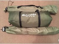 Camping tent, sleeping bag & chairs.