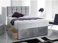 Sameday Delivery 3Ft ingle CRUSHED VELVET -Two DRAWER Bed MEMORYFOAM Mattress Diamante Headboard