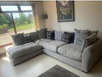 Grey Fabric Corner Sofa & Arm Chair (DFS)