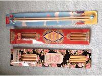Bamboo knitting needles, three packs, 1pair no 5mm, 1 pair no 10mm, 2 pairs 1 each of 5 mm and 6.5mm
