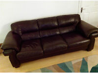 2 & 3 Seater Leather Couch - Brown/Black