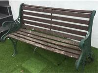 Vintage / Antique wrought iron wooden bench