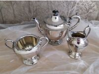 Vintage Sheffield Nickel Plated Tea Set, Teapot, Sugar and Milk Jug EPNS 1920.
