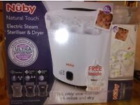 Nuby steriliser, dryer and bottles brand new in wrapping.