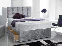 DOUBLE 4FT KINGSIZE 5FT SILVER VELVET DIVAN BED WITH MATTRESS+DRAWERS+ CUBED HEADBOARD