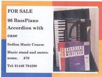 96 Bass Piano Accordion, Sedlon Music Course, music stand & metronome.