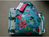 Brand new Next 4 Person Floral Picnic Backpack with Bottle Holder and Blanket
