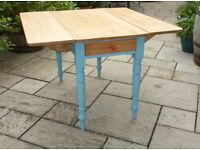 Vintage Rustic Drop Leaf Large Farmhouse Dining Table with Draw, Antique Retro
