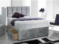 Can Deliver Today GOOD Quality Crushed Velvet Double King Bed Luxury Mattress Diamante & Headboard