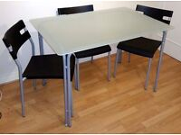 IKEA LAVER frosted glass top dining table and 4 chairs set - COLLECTION ONLY