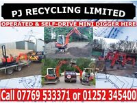PJ PLANT HIRE mini digger and experienced driver for hire