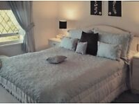 Bed cover, pillow shams and curtains- Turqoise