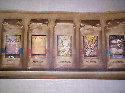 CAFE - PACKAGES OF COFFEE - KITCHEN PREPASTED WALLPAPER BORDER # 687651