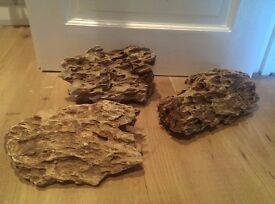 Fish Aquarium bits, - dragon rock stones