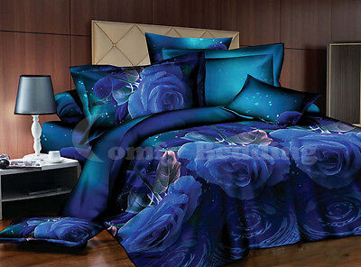 Blue Roses Bedding Set: Duvet Cover Set or Size-Matching White Comforter or Both