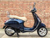 Vespa Primavera 125cc (65 REG) in Blue, As new condition with only 395 miles! One Owner from new!