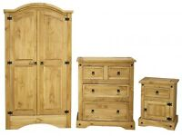 FREE DELIVERY Distressed Pine Corona 'Trio' Wardrobe, Bedside Cabinet, Chest Drawers **Bedroom SET**