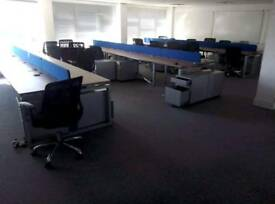 Back to back call centre style office desks